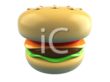 Royalty Free 3d Clipart Image of a Hamburger