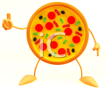Royalty Free 3d Clipart Image of a Pizza
