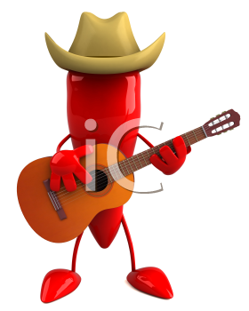 Royalty Free Clipart Image of a Pepper in a Cowboy Hat Playing a Guitar