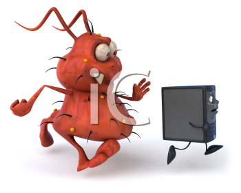 Royalty Free Clipart Image of a Germ Chasing a Computer