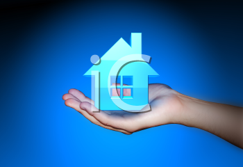 Royalty Free 3d Clipart Image of an Outstretched Hand Holding a House