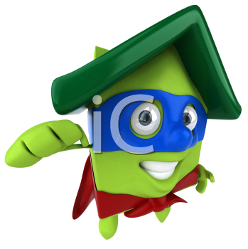 Royalty Free Clipart Image of a Flying Green House Superhero