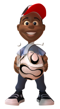 Royalty Free 3d Clipart Image of an African American Youth Holding a Soccer Ball