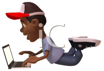 Royalty Free 3d Clipart Image of an African American Youth Using a Laptop Computer