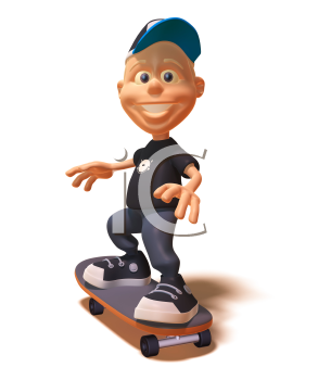 Royalty Free 3d Clipart Image of a White Youth Riding a Skateboard