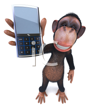 Royalty Free Clipart Image of a Monkey Showing a Cellphone