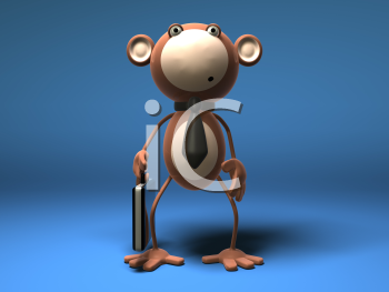 Royalty Free 3d Clipart Image of a Monkey Holding a Briefcase