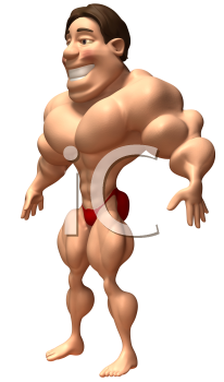 Royalty Free 3d Clipart Image of a Male Bodybuilder