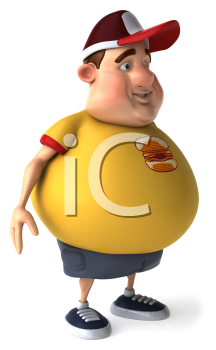 Royalty Free Clipart Image of a Side View of a Man With a Beer Belly