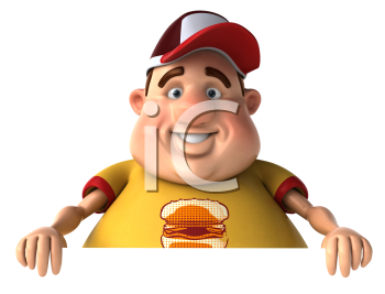 Royalty Free Clipart Image of a Chubby Man With a Hamburger on His Shirt and Wearing a Cap