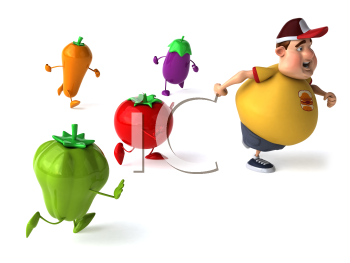 Royalty Free Clipart Image of a Fat Man Running From Vegetables