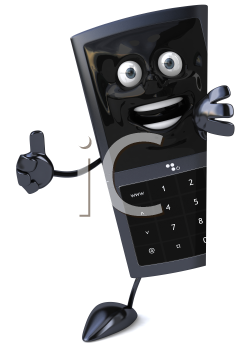 Royalty Free Clipart Image of a Cellphone Giving a Thumbs Up