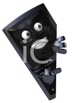 Royalty Free Clipart Image of a Cellphone Peeking From Behind a Wall