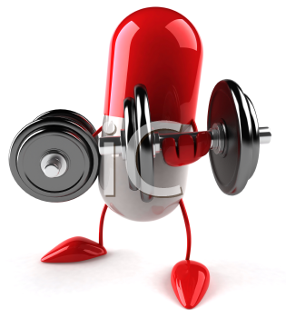 Royalty Free Clipart Image of a Red Capsule Lifting Weights