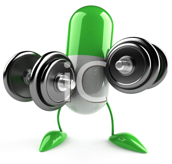 Royalty Free Clipart Image of a Green Capsule Lifting Weights