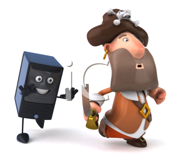 Royalty Free Clipart Image of a Pirate Being Chased by a Computer