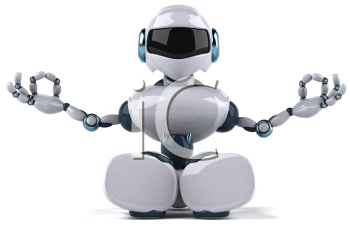 Royalty Free Clipart Image of a Meditating Robot
