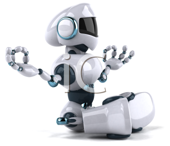 Royalty Free Clipart Image of a Side View of a Meditating Robot