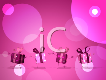 Royalty Free 3d Clipart Image of Pink Gifts