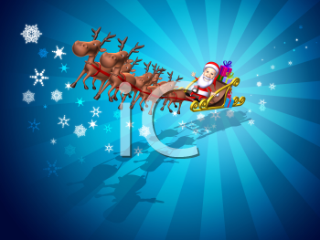 Royalty Free 3d Clipart Image of Santa Riding in a Sleigh Led by Reindeer