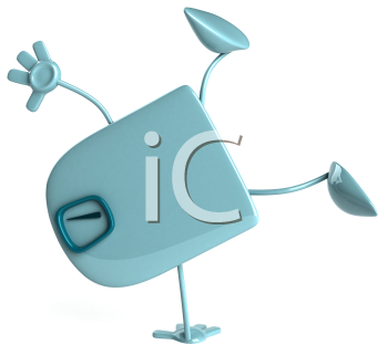 Royalty Free Clipart Image of a Scale Doing Cartwheels