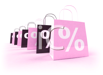 Royalty Free 3d Clipart Image of Shopping Bags with Percentage Signs on Them