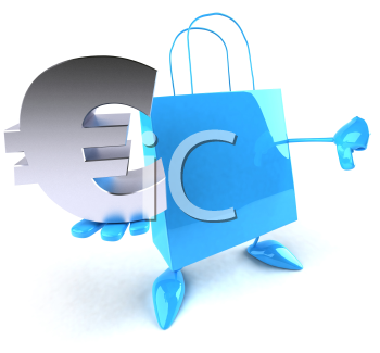 Royalty Free 3d Clipart Image of a Shopping Bag Holding a Euro Sign