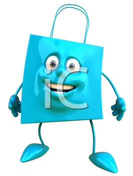 Royalty Free Clipart Image of a Blue Bag