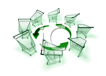 Royalty Free 3d Clipart Image of Shopping Carts With Arrows
