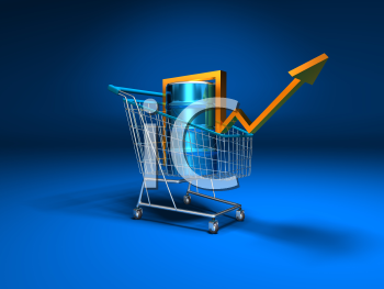 Royalty Free 3d Clipart Image of a Shopping Cart With a Blue Background and an Oil Can