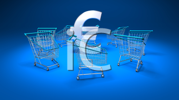 Royalty Free 3d Clipart Image of Shopping Carts With a Blue Background and a Euro Sign in the Middle