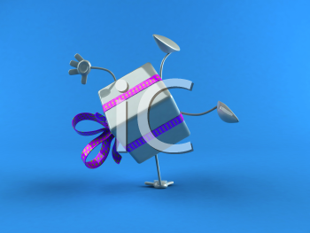Royalty Free 3d Clipart Image of a Shiny Gift