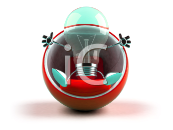 Royalty Free 3d Clipart Image of a Green Light Bulb Sitting in a Red Bubble Chair