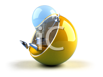 Royalty Free 3d Clipart Image of a Blue Light Bulb Sitting in a Yellow Bubble Chair