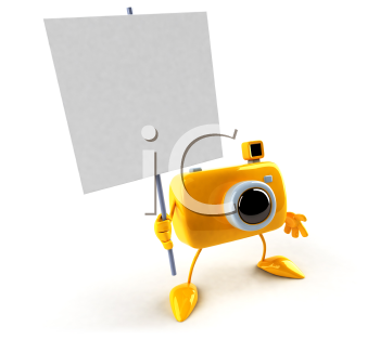 Royalty Free 3d Clipart Image of a Camera Holding a Sign
