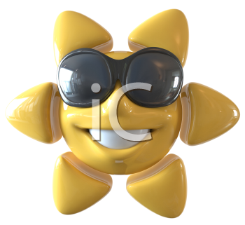 Royalty Free 3d Clipart Image of a Sunflower Wearing Sunglasses