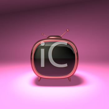 Royalty Free 3d Clipart Image of a Retro Television