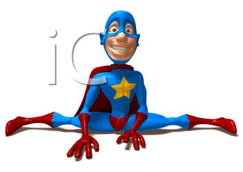 Royalty Free 3d Clipart Image of a Superhero