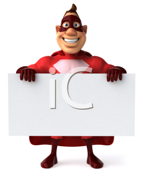 Royalty Free Clipart Image of a Superhero Holding a Sign
