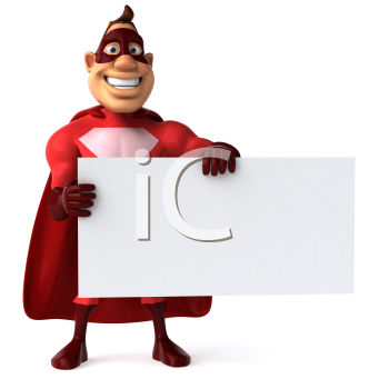 Royalty Free Clipart Image of a Superhero Holding a Blank Sign