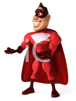 Royalty Free Clipart Image of a Superhero With His Hand Out