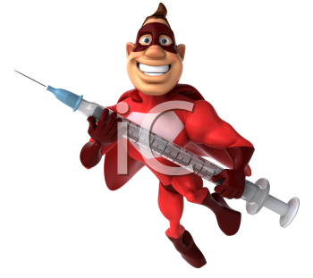 Royalty Free Clipart Image of a Superhero With a Syringe