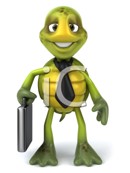 Royalty Free Clipart Image of a Turtle Carrying a Briefcase
