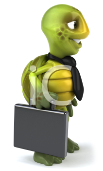 Royalty Free Clipart Image of a Turtle With a Briefcase