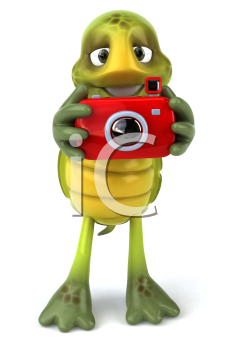 Royalty Free Clipart Image of a Turtle Taking a Picture