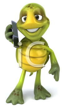 Royalty Free Clipart Image of a Turtle Talking on a Cellphone