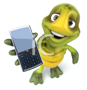 Royalty Free Clipart Image of a Turtle With a Cellphone