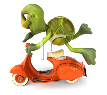Royalty Free Clipart Image of a Turtle Doing Tricks on a Scooter