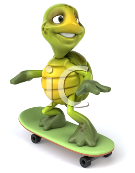 Royalty Free 3d Clipart Image of a Turtle Riding a Skateboard