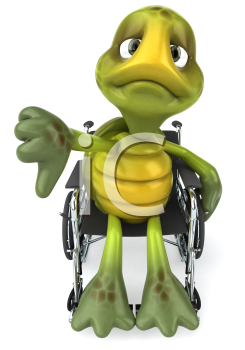 Royalty Free Clipart Image of a Turtle in a Wheelchair Giving a Thumbs Down